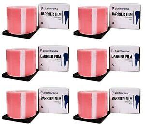 "6 x Pink Barrier Tape Film, Dental, Adhesive, Tattoo, Lab 1200 4"" x 6"" Sheets"