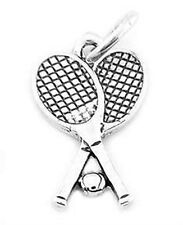 STERLING SILVER DOUBLE TENNIS RACQUETS WITH BALL CHARM/PENDANT