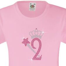 """Girl's Birthday TShirt """"2 with crown & wand"""" Rhinestone Embellished-Many Colours"""