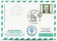 1980 Ballonpost n. 63 Pro Juventute Aerostato OE-DZC Hallein Oberndorf Salzburg