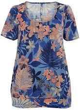 EVANS Tropical Floral  Print Sleeve Top  30/32 Blue /Multi