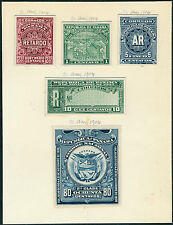 PANAMA 1904 (5) DIFF. ABNCo XF-SUPERB EX-GREEN PLATE PROOFS ON INDIA BQ3924