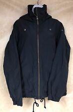 Columbia Women Cotton Nylon Hooded Raincoat Jacket Black Zip Up Drawstring Waist