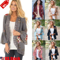 Women's Lace Floral Long Sleeve Kimono Cardigan Blouse Loose Casual Jacket Tops