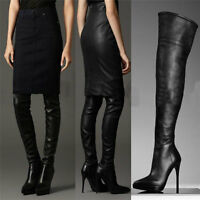 Women's Leather Thigh High Boots Point Toes Over The  Knee High Boots High Heels