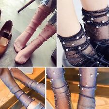 Pair of Sheer Glitter Mesh Soft Ankle High Socks Beaded Lolita Pin-Up Vintage OS