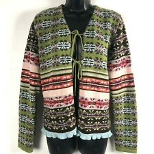 Oilily Cardigan Sweater L Green Purple Nordic Wool Blend Fair Isle Italy tie fro