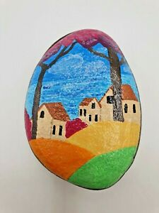 Hand Painted pebble stone art hill top house with trees colourful fields & sea