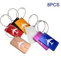8Pcs Luggage Tags Aluminium Alloy Suitcase Label Name Address ID Bag Travel Tag