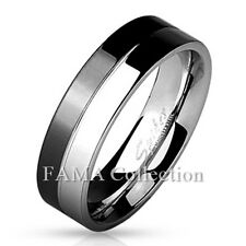 FAMA 6mm Stainless Steel 2-Tone Black & Shiny Steel Band Ring Size 5-12