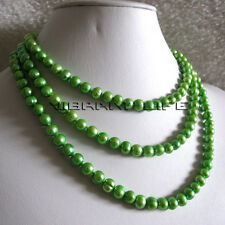"50"" 6-8mm Green Freshwater Pearl Strand Necklace Fashion Jewelry U"