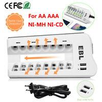 EBL 4 Slot / 8 Slot Smart Charger For AA AAA NI-MH NI-CD Rechargeable Battery US