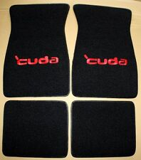 NEW! PLYMOUTH CUDA BARRACUDA LOGO Floor Mats Black w/ Red Logo 4 Pc Set