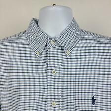 Ralph Lauren Classic Fit Blue White Oxford Check Mens Dress Button Shirt Large L