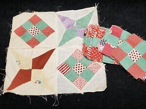 26 Vintage Quilt Blocks Postage Stamp Pattern 1920s Fabric Jadeite Green & RED