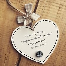 Wedding Gift Plaque Personalised Present Heart Mr&Mrs Bride Keepsake Engagement