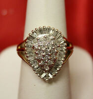 14K Yellow Gold & Pear Shaped Diamond Cluster Ring! 1ct TW!