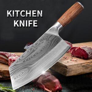 Küchenmesser Damaskus Lasermuster Kochmesser Edelstahl Fleischbeil Hackmesser