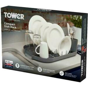 Tower Compact Dish Rack With Cutlery Holder, Steel Construction, Draining Prongs