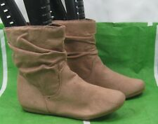 ladies camel color brown Flat Sexy Ankle Boots Round Toe Size 7