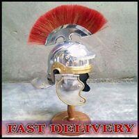 Medieval Roman Centurion Helmet Armor Red Crest Plume Gladiator-Costume-miniatur