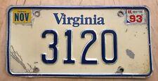 """VIRGINIA 1993 LOW NUMBER 4 DIGIT  PASSENGER AUTO LICENSE PLATE """" 3120 """" VA 93"""