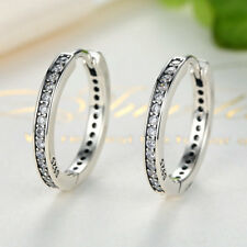 Authentic 925 Sterling Silver Sparkling CZ Hoop Dangle Earrings for Mother's Day