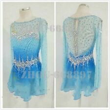 Ice Skating Dress Halo Spandex Competition blue dyeing Long sleeve