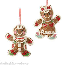 Gingerbread plush Christmas Ornament  candy color set 2 sp 3420006 NEW RAZ