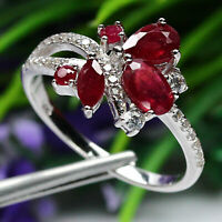 NATURAL RED RUBY & WHITE CZ RING 925 STERLING SILVER