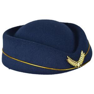 Airline Stewardess Flight Attendant Air Hostess  Vintage Looking Hat Navy Blue