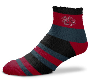 South Carolina Gamecocks Black & Maroon Rainbow Stripe Fuzzy Socks