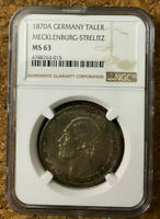 🏆 Top pop! Germany Mecklenburg-Schwerin 1870 Taler Coin Thaler NGC MS63 UNC