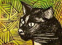 ACEO original miniature painting ink pen & Watercolor Art- Mr.Cat in pen strokes