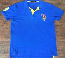 U.S. Polo Assn Embroidered Stitched Mens Big Pony Logo Blue Yellow Polo Shirt M