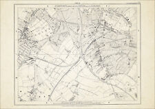 Old map London 1877 #22 repro - Tooting, Streatham (S), Mitcham (N)