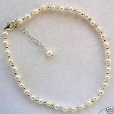 "White Cultured Pearl & Sterling Silver 8""-10"" Ankle Bracelet w/Sterling Beads"