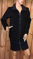Black Jacket Fleece Long Sleeve Hidden Hoodie Lined Size S