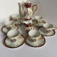 Madonna Coffee Set... Made in Japan Porcelain ...Gold colors on Pearl And White