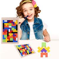 Wooden Tetris Building Block Puzzle Montessori Preschool Educational Kids Toys