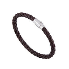 Punk Cool Womens Men Wide Handmade Leather Belt Bracelet Cuff Wristband Bangle Dark Brown