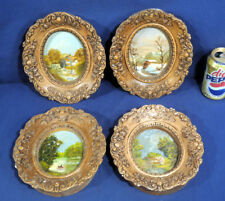 4 Vintage Oil Paintings on Canvas Signed D Rische Mrs Ed Rische Fresno CA Dean?