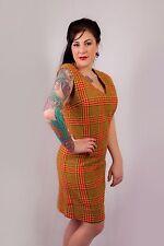 60s vintage cream & orange tweed wool shift dress houndstooth check
