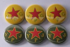 "Rojava Lot 6 Protection Unit Democratic Union Party 1"" badge pin button YPJ YPG"