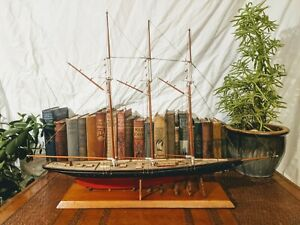 "29"" Vintage Detailed Wooden Ship Display Model Yacht 3 Masted Schooner Sail Boat"