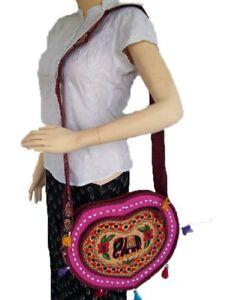 Embroidery Shoulder Handbag Bags Boho Tote Women Ethnic Handmade Elephant patch