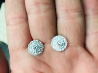ROBERTO COIN DISC 18K WHITE GOLD DIAMOND CLUSTER EARRINGS ( Brand New )