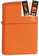 Zippo 231zl orange matte w/ logo Lighter with *FLINT & WICK GIFT SET*