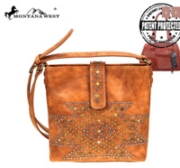 Concealed Carry CCW Gun Montana West USA Aztec Stud Handgun Handbag Brown Purse