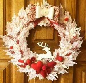 Christmas Wreath White Front Door Winter felt leaf wreath